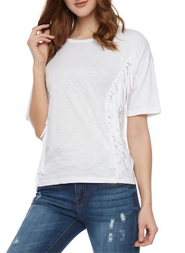 Crew Neck T Shirt with Fringe Details,WHITE,large