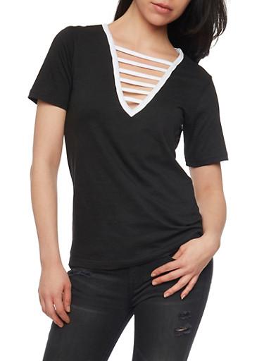 Ladder Caged V Neck T Shirt,BLACK,large