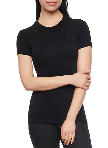 Mock Neck Short Sleeve Ribbed Sweater,BLACK,large