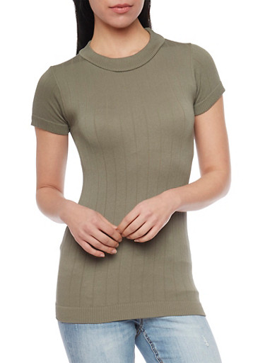 Mock Neck Short Sleeve Ribbed Sweater,OLIVE,large