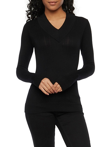 V Neck Sweater in Ribbed Knit,BLACK,large