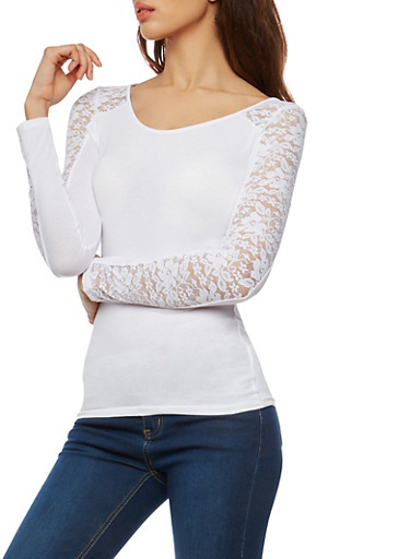 Long Sleeve Lace Trim Basic Top,WHITE,large