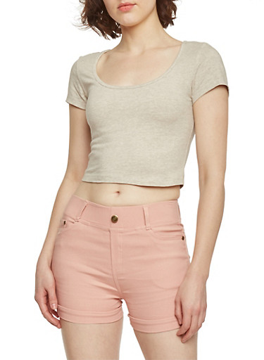 Solid Short Sleeve Crop Top,OATMEAL,large