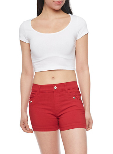 Solid Short Sleeve Crop Top,WHITE,large