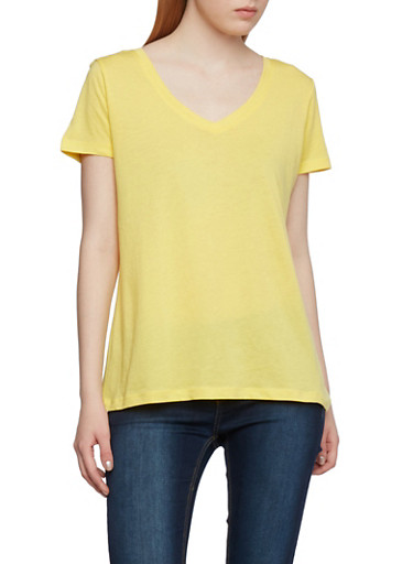 Basic V Neck Top with Short Sleeves,VIBRANT YELLOW,large