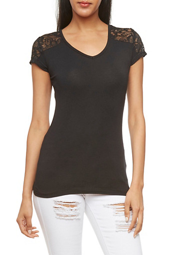 Lace-Trimmed T-Shirt with Cutout Back,BLACK,large