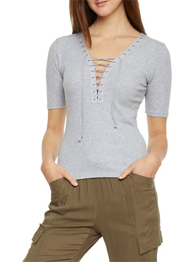Plunging Lace Up V Neck Rib Knit T Shirt,HEATHER,large