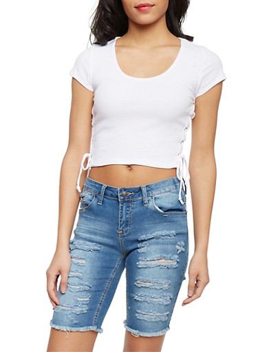 Rib Knit Crop Top with Lace Up Sides,WHITE,large