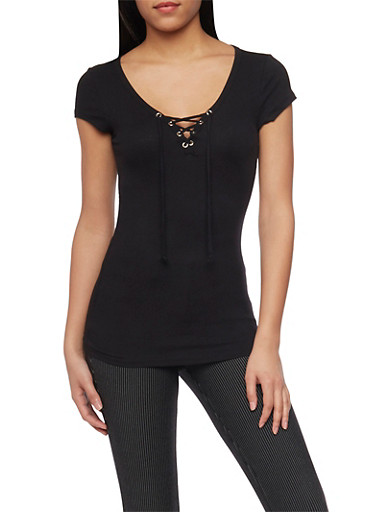 Rib Knit Lace Up V Neck Short Sleeve Top,BLACK,large