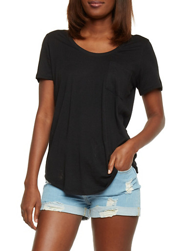 Solid Short Sleeve Scoop Neck T Shirt with Front Pocket,BLACK,large
