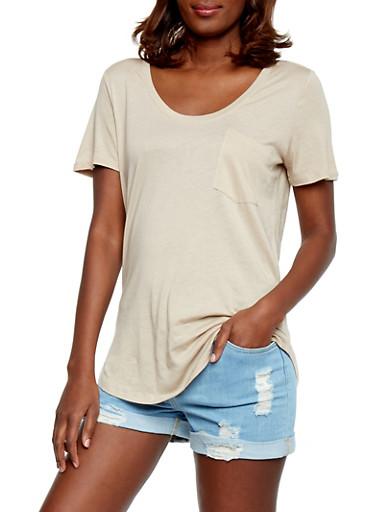 Solid Short Sleeve Scoop Neck T Shirt with Front Pocket,DESERT,large