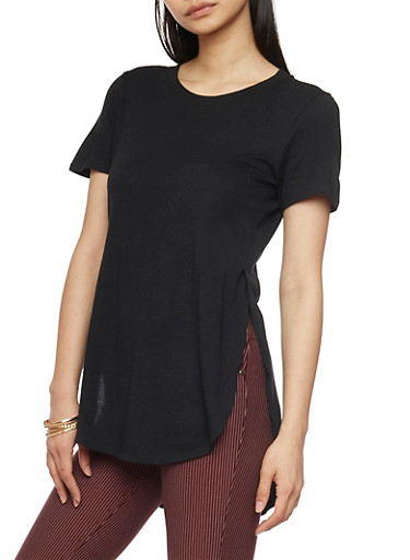 Solid High Low T Shirt with Side Slits,BLACK,large