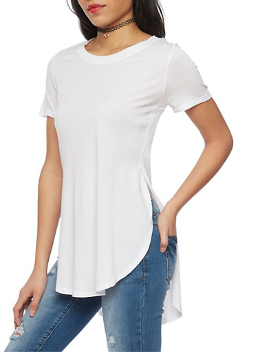 Solid High Low T Shirt with Side Slits,WHITE,large