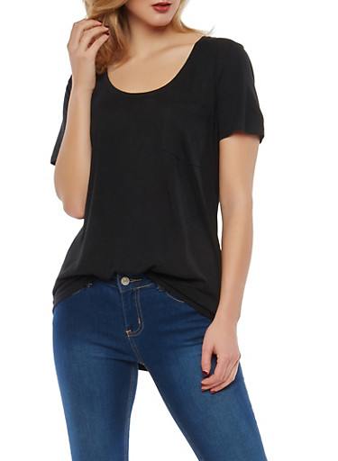 Basic One Pocket T Shirt,BLACK,large