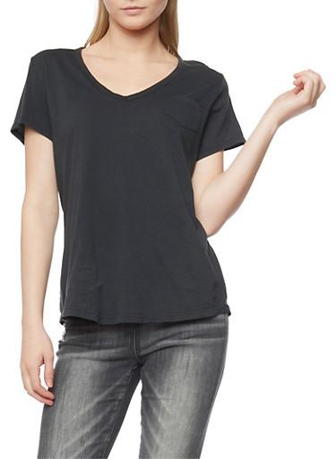 Short Sleeve V Neck T Shirt,BLACK,large