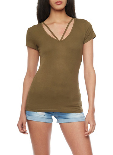 Short Sleeve Rib Knit V Cut Out T Shirt,OLIVE,large