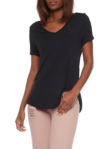 Basic Short Sleeve V Neck T Shirt,BLACK,large