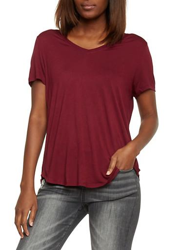 Basic Short Sleeve V Neck T Shirt,BURGUNDY,large