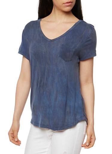 Brushed Knit V Neck T Shirt,NAVY,large