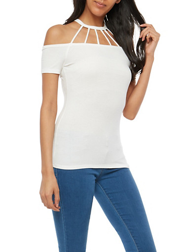 Rib Knit Caged Neck Cold Shoulder Top,WHITE,large