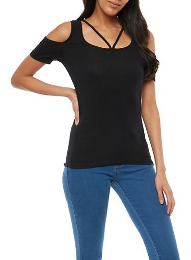 Caged Neck Cold Shoulder Top,BLACK,large