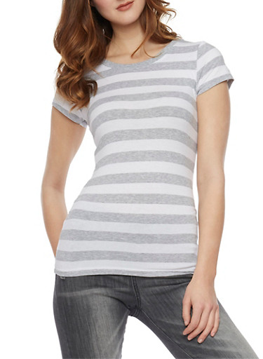 Classic Striped Cew Neck T Shirt,HEATHER/WHT,large