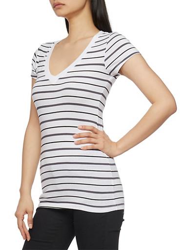 Striped Short Sleeve V Neck T Shirt,BLACK/WHITE/GREY,large