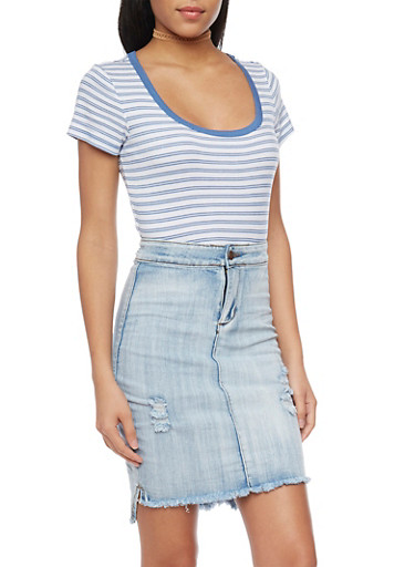 Striped Rib Knit Scoop Neck Ringer T Shirt,WHITE/BLUE,large