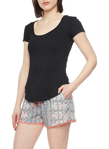Basic Rib Knit Scoop Neck T Shirt,BLACK,large