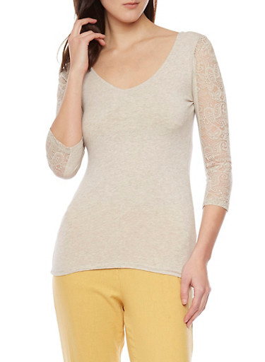 Keyhole Back Top with Lace Paneling,OATMEAL,large