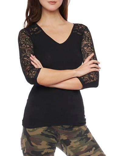 V Neck Lace Paneled Top,BLACK,large
