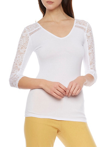 V Neck Lace Paneled Top,WHITE,large