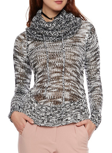 Cowl Neck Sweater with Marled Knit,BLACK,large
