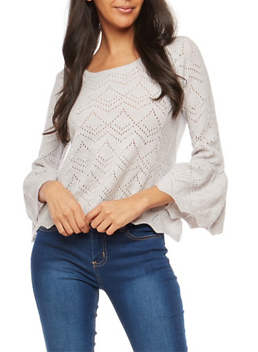 Pointelle Knit Bell Sleeve Sweater,GRAY,large