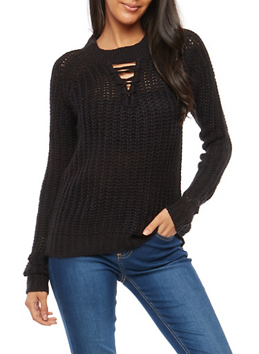 Chunky Knit Lace Up Sweater,BLACK,large