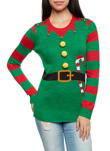 Elf Print Crew Neck Sweater with Bells and Pom Poms,GREEN,large