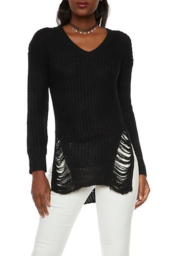 Shredded High Low V Neck Sweater,BLACK,large