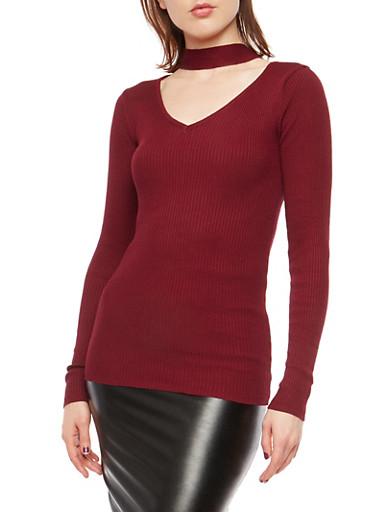 Rib Knit Choker Neck Sweater,BURGUNDY,large