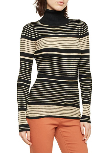 Striped Turtleneck Sweater,BLACK,large