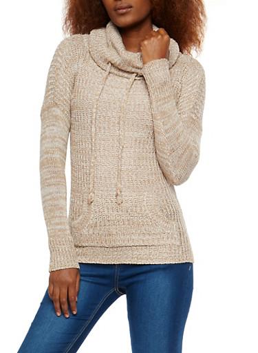 Two Tone Knit Cowl Neck Sweater,KHAKI,large