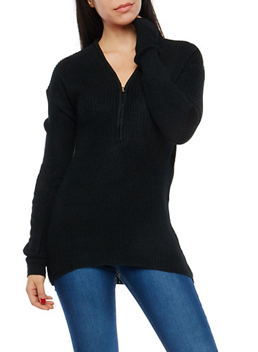 Zip Neck High Low Sweater,BLACK,large