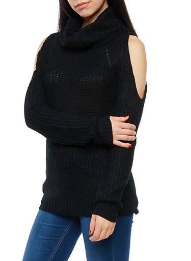 Cold Shoulder Turtleneck Sweater,BLACK,large