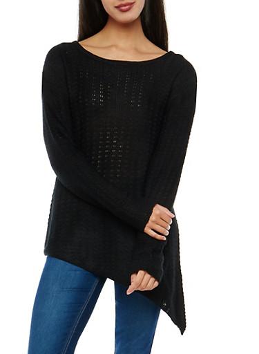 Long Sleeve Asymmetrical Sweater,BLACK,large