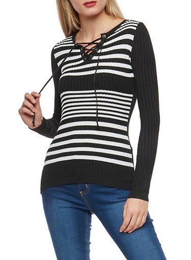 Striped Rib Knit Lace Up Sweater,BLACK,large
