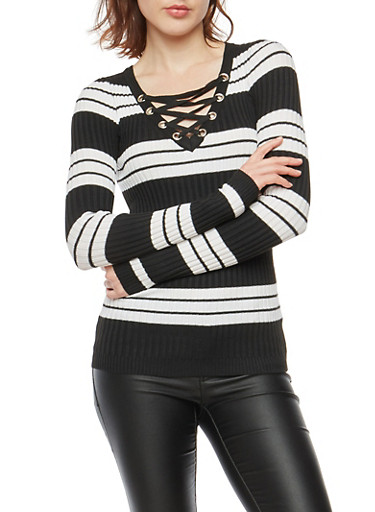 Striped Rib Knit Lace Up Neck Sweater,BLACK,large