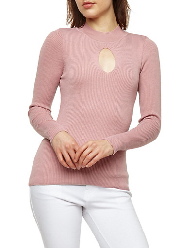 Ribbed Knit Keyhole Sweater,MAUVE,large