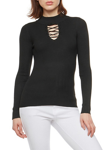 Ribbed Knit Criss Cross Keyhole Sweater,BLACK,large