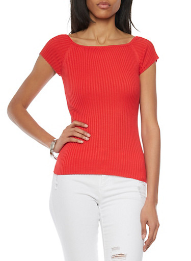 Short Sleeve Rib Knit Sweater,POPPY,large