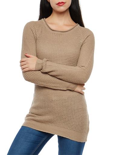 Long Sleeve Waffle Knit Sweater,KHAKI,large
