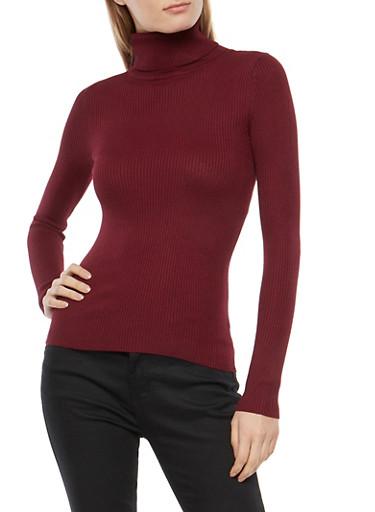 Rib Knit Turtleneck Sweater,BURGUNDY,large